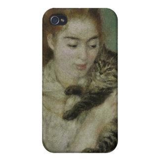 Femme au Chat - Pierre Auguste Renoir Case For iPhone 4