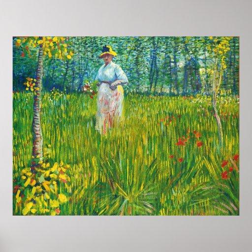 Femme dans un Jardin (van Gogh) Poster