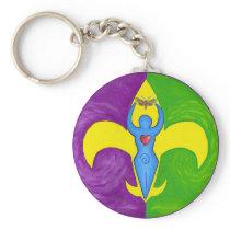 Femme de lis basic round button keychain