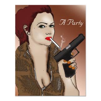 """Femme Fatale - el fumar y armas Invitación 4.25"""" X 5.5"""""""