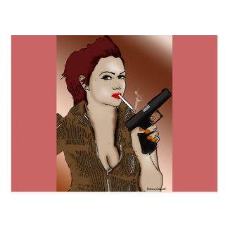 Femme Fatale - el fumar y armas Postales