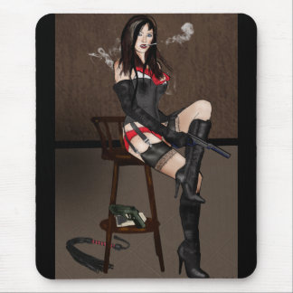 Femme Fatale Femdom - Smoking and Guns Mouse Pad
