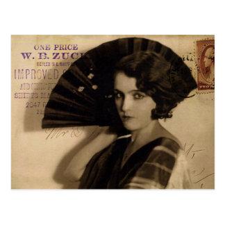 Femme Fatale in Sepia Postcard