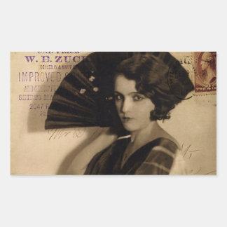 Femme Fatale in Sepia Rectangular Stickers