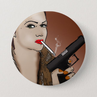Femme Fatale - Smoking and Guns Button