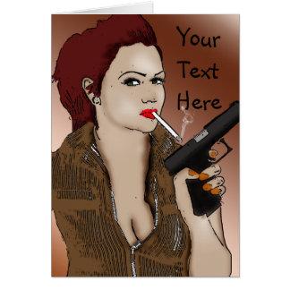 Femme Fatale - Smoking and Guns Card
