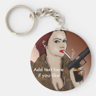 Femme Fatale - Smoking and Guns Key Chain