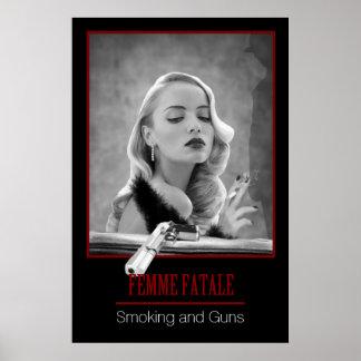Femme Fatale - Smoking and Guns Retro Black/White Poster