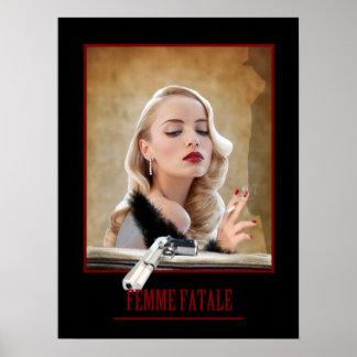 Femme Fatale - Smoking and Guns Retro Poster