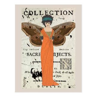 Femme Fatale Winged Woman Orange Dress Postcard