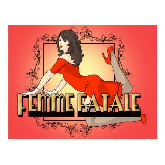 Femme Fatale - Woman In Red Postcard