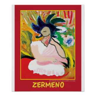 """""""Femme Fauve"""" in red by Zermeno Poster"""