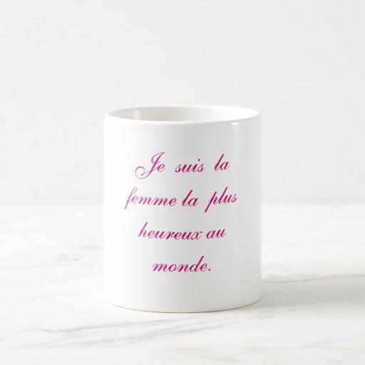 Femme le del la de los suis de Je más monde del au Taza Clásica