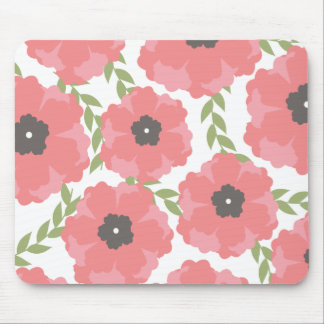 Femme Pink Floral Pattern Mouse Pad