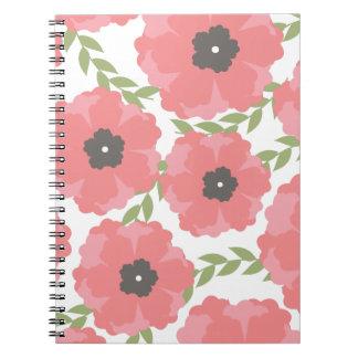 Femme Pink Floral Pattern Spiral Notebook