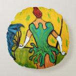 """Femme Trapeze"" by Zermeno Round Pillow"