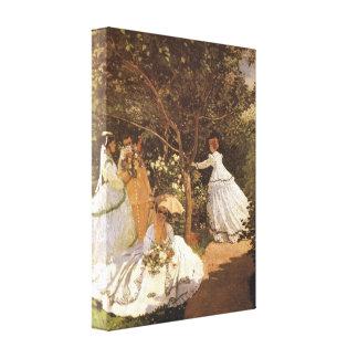 Femmes au jardin 1867 by Claude Monet Stretched Canvas Prints