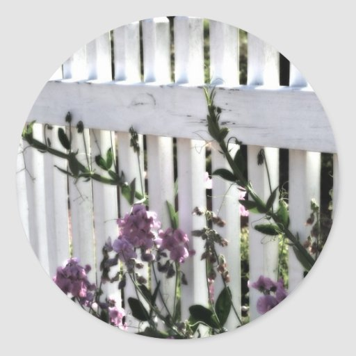Fence and Flower Classic Round Sticker