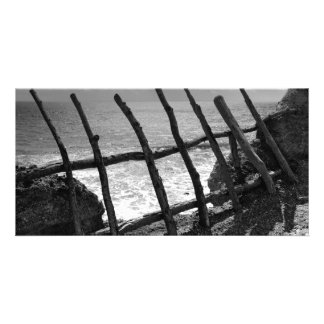 Fence and ocean photo card