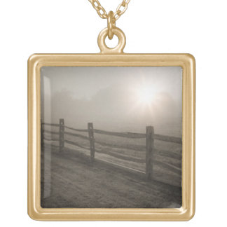 Fence and Sunburst Through Fog near Sharon Gold Plated Necklace