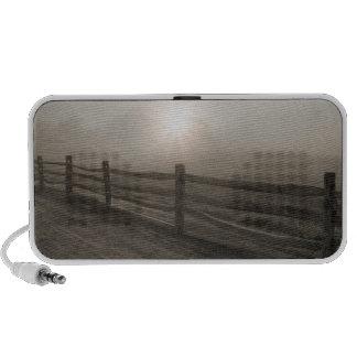 Fence and Sunburst Through Fog near Sharon Mp3 Speakers
