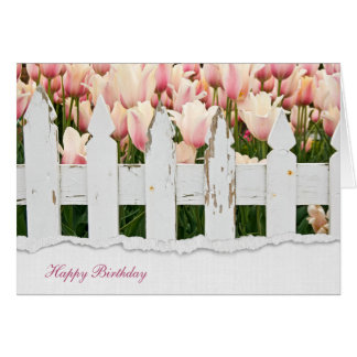 fence and tulips birthday card