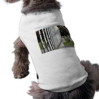 Fence at a cemetery dog t shirt