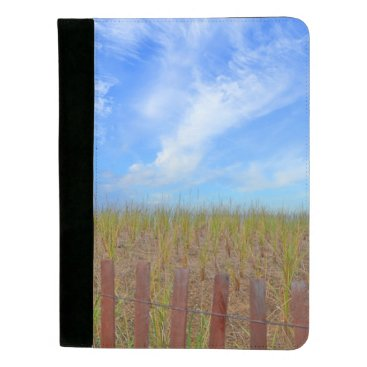 Beach Themed Fence, Dunes And Sky Padfolio