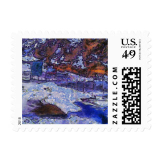 Fence holding off winter postage stamps