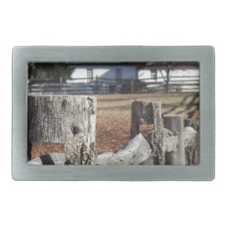 Fence in Colonial Williamsburg Rectangular Belt Buckle