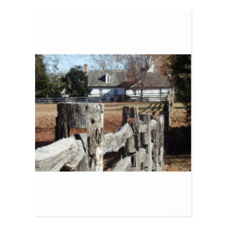 Fence in Colonial Williamsburg Postcard