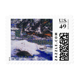 Fence in winter stamp