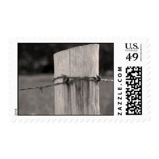 Fence Post and Barbed Wire Postage