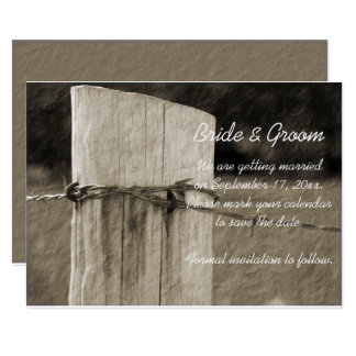 Fence Post Country Farm Wedding Save the Date Card