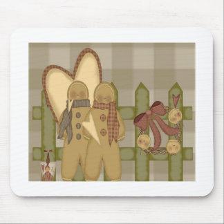 &Fence primitivo del corazón del pan de jengibre Tapetes De Raton