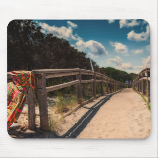 Fence to Beach with Grass and Dunes Mouse Pad