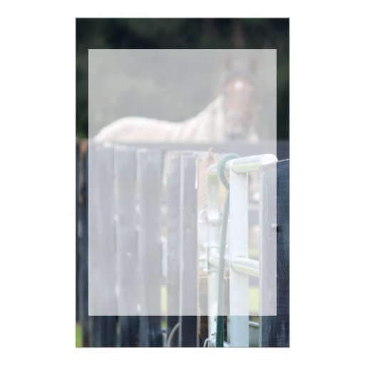 fence with faded horse behind custom stationery