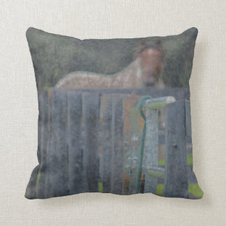 fence with horse behind abstracted grunged throw pillow