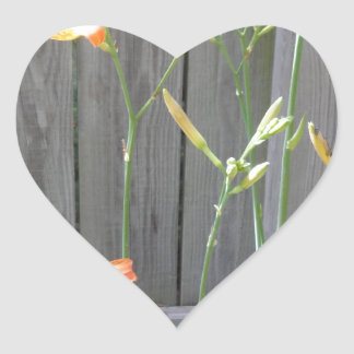Fence with Lillies Heart Sticker