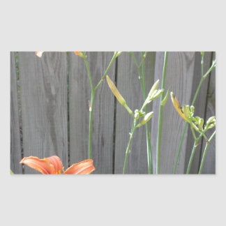 Fence with Lillies Rectangular Sticker