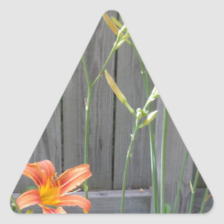 Fence with Lillies Triangle Sticker