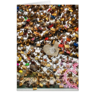 Fence with padlocks of love photography card