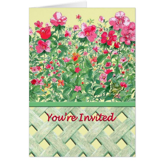 Fenced Border of Green and Pink Flowers Card