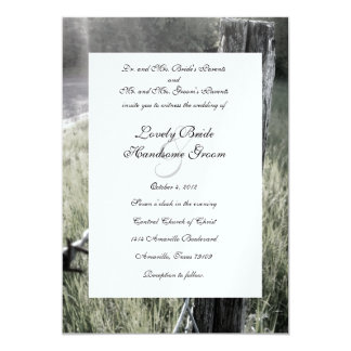 Fencepost and Barbed Wire Rustic Wedding 5x7 Paper Invitation Card
