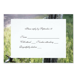 Fencepost, Barbed Wire Rustic rsvp with envelope 3.5x5 Paper Invitation Card