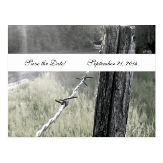 Fencepost Barbed Wire Rustic Save the Date Postcard
