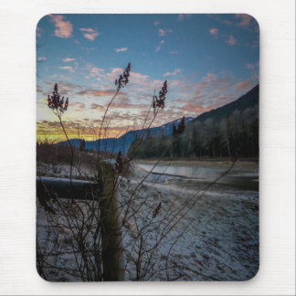 Fencepost Sunset Mouse Pad