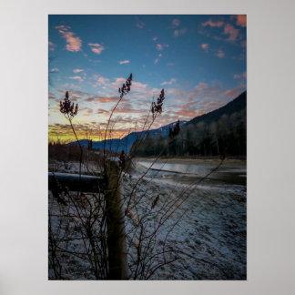 Fencepost Sunset Poster