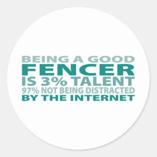 Fencer 3% Talent Classic Round Sticker