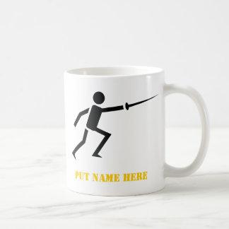 Fencer black silhouette fencing custom coffee mug